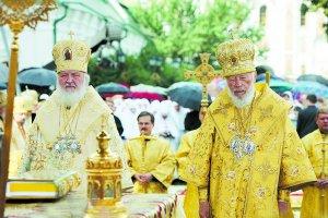 Святейший Патриарх Кирилл и Блаженнейший митрополит Владимир возглавили служение Божественной литургии  в Свято-Успенской Киево-Печерской Лавре