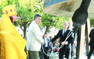 Президенты России и Украины присутствовали наосвящении13-тонного  колокола «Крещение»  в Херсонесе