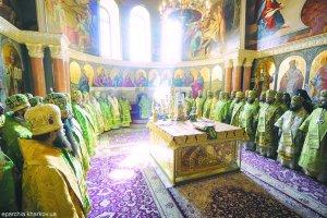 В день памяти преподобного Антония Киево-Печерского архиепископ Онуфрий сослужил заБожественной литургией Предстоятелю УПЦ